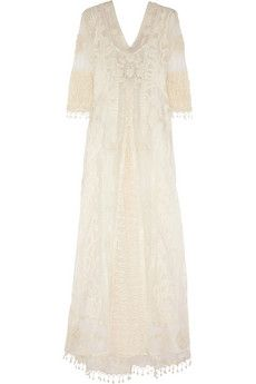 Kate Moss for Topshop Embroidered tulle and crocheted lace maxi dress   NET-A-PORTER