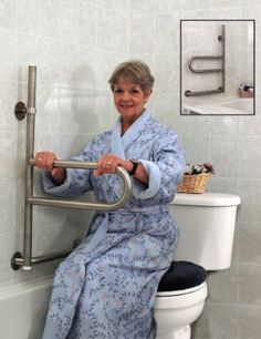The Dependa-Bar Pivoting Grab Bar is designed for bathing, toileting and other environments where grab bars are found.This ADA compliant safety grab bar combines the sturdiness of a wall mounted grab. Ada Bathroom, Handicap Bathroom, Small Bathroom, Easy Bathrooms, Handicap Toilet, Disabled Bathroom, Bathroom Safety, Washroom, Handicap Accessible Home