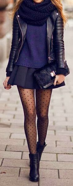 Winter date night outfit: mini skirt + tights + booties + leather jacket! Perfect!
