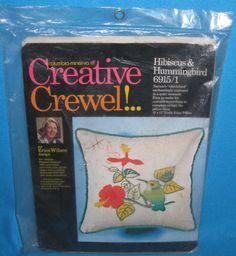 Hibiscus & Hummingbird Creative Crewel Pillow Kit - Vintage 1969 Unopened