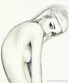 Bleistift-Zeichnung einer Frau mit blonden Haaren