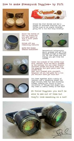 Making steampunk goggles. Or skip a few steps and make normal goggles for cospla… Making steampunk goggles. Or skip a few steps and make normal goggles for cosplay Steampunk Cosplay, Arte Steampunk, Style Steampunk, Steampunk Crafts, Steampunk Goggles, Steampunk Fashion, Fashion Goth, Gothic Steampunk, Steampunk Kids