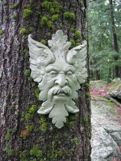 Green Man Garden Decor Hanging Face by WestWindHomeGarden on Etsy, $29.95