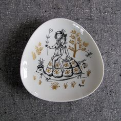 Your place to buy and sell all things handmade Vintage Plates, Danish, Turtle, Triangle, Decorative Plates, Lovers, Couple, Shapes, Dishes