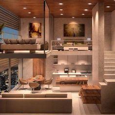 Trendy home interior loft tiny house ideas Loft Design, Tiny House Design, Design Case, Modern House Design, Stand Design, Design Model, Apartment Interior, Room Interior, Interior Design Living Room