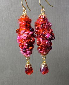 Unique Earrings Wire Wrapped Fiber Art Handcrafted by BluKatDesign