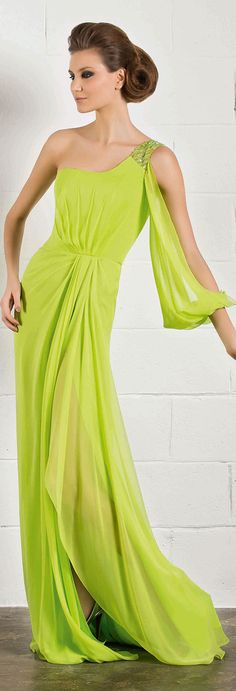 RANI ZAKHEM #oneshoulder #green #dress
