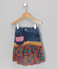 Part trendy, part classic and all fabulous, this skirt shows off a unique layered look that includes bright knit patches and frilly floral trim. With its casual-made-cooler denim upper, this one-of-a-kind piece can pair up with anything from a simple tee to a fancy tunic.81% cotton / 17% polyester / 2% spandexMachine wash; hang dry