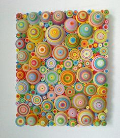 Items similar to Abstract multi coloured 'quilling' canvas on Etsy Items similar to Abstract Multi Colored & # quilling … 3d Quilling, Paper Quilling Tutorial, Paper Quilling Patterns, Quilling Paper Craft, Quilling Ideas, Diy Paper, Paper Crafts, Rolled Paper Art, Diy And Crafts
