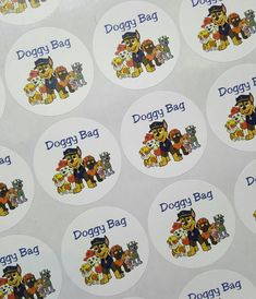 """Paw Patrol, Thank You, Doggy Bag, 2"""" Round Stickers, Birthday Party, Goody Bag…"""
