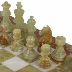 Beautiful chess sets made from a variety of colorful marble, onxy, and exotic stones in both Classic and Staunton designs.
