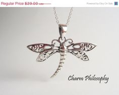 925 sterling silver dragonfly necklace from Charm Philosophy on Etsy | Jewelry
