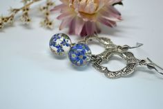 Flower Earrings Eco Gift Forget-me-not flowers Stainless steel Nature Jewelry Real Flower Jewelry Sphere Earrings Blue flowers jewelry by VITALIAart on Etsy