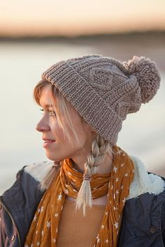 Elfi is a good old school hat - Cables and a pom-pom are hard to resist! Find this lovely winter pattern at LoveKnitting.Com.