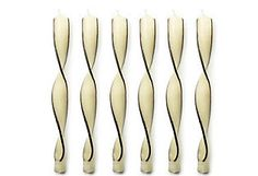 BEAUTIFUL CANDLES Et Al S/6 Swirl Tapers, Black & White