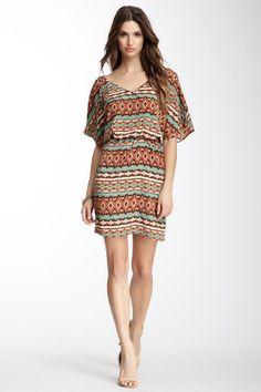Peach Love Cream California Tribal Dolman Sleeve Printed Dress by Labels We Love on @HauteLook
