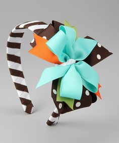 Take a look at this Blue & Brown Owl Bow Headband by Waistin' Away on #zulily today!