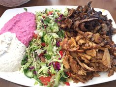 Chicken and lamb, with Beetroot and eggplant dip @ Roxy kebabs