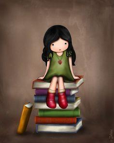 Children's Book Art Library Wall Decor Girls Illustration Girl on Books Artwork… Art And Illustration, Illustrations, Kids Artwork, Art Wall Kids, Art For Kids, Nursery Artwork, Nursery Paintings, Art Children, Craft Kids