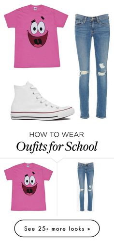 """School"" by wont-stop-loving-queen-rydel on Polyvore featuring Frame Denim and Converse"