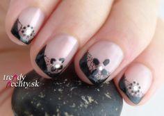 French manicure, black nails, nail art