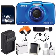 Nikon COOLPIX S33 Digital Camera (Blue) International Model No Warranty + Replacement Battery + External Charger + 16GB Card + Floating Strap + USB Reader + Memory Card Wallet + Cap Keeper. Nikon COOLPIX S33 Digital Camera (Blue) Brand New w/ All Manufacturers Accessories. EN-EL19Rechargeable Lithium Ion Replacement Battery. External Rapid Quick-Charger with Car Charger Attachment. 16GB SDHC Class 10 Secure Digital High Speed Memory Card. Waterproof Digital Camera Floating Wrist Strap.
