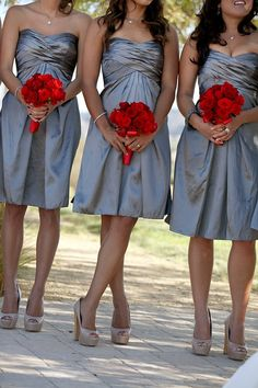 love this bridesmaid look - red flower bouquets, nude pumps and periwinkle dresses