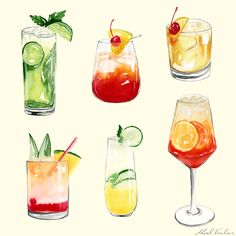 Watercolor illustration of popular cocktails including: mango pina colada, aperol spritz, whiskey sour, mojito - chin chin! Food illustration, food illustrator, cocktail illustration, art, poster, design, hand drawn, watercolor painting, drawings, art, summer, graphics, artwork, print. Art for advertising, editorial, packaging and branding. #homedecor #wallart #cocktails #cocktailposter #cocktailillustration Cocktail Illustration, Dessert Illustration, Watercolor Illustration, Popular Cocktails, Classic Cocktails, Mojito, Cocktails Drawing, Watercolor Art Lessons, Watercolor Painting