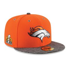 d77481c29 Denver Broncos New Era Super Bowl 50 On-Field Side Patch 59FIFTY Fitted Hat  - Orange Heather Gray