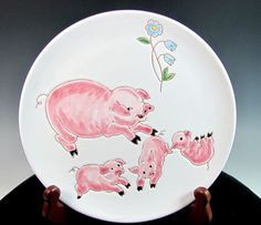 Vintage INVENTO PIGS Italian Pottery Plate Italy by ShootingCreek, $34.00