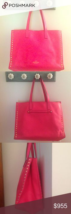 Valentino Rockstud Tote in Shocking Pink 100% authenticity guarantee, designer neon pink Valentino jumbo studded hand bag in like new condition, I did use it a couple of times but there is know where or tear to this limited edition bag. Dust bag, tags and receipt will be provided upon request. No lowballing, this is bad needs a new home and loving mother Valentino Bags Totes
