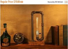ON SALE Industrial pipe lamp-Unique table lamp-Steampunk table lamp-Vintage style lamp light-Edison bulb lamp-Bedside lamp light-Rustic ligh