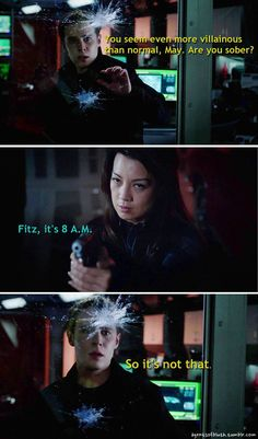 Fitz tried to think of any logical reason for May's behavior. He couldn't find one. || Leo Fitz, Melinda May || Agents of B.L.U.T.H. || 736px × 1,245px || #fanedit #humor