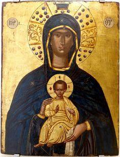 """ΜΡ.ΘΥ__Παναγία  """" η Νικοποιός""""        (Icon Virgin Nikopoios Author: Thomas Bathas (?) Date: 1594 Dimensions: 41,2 x 53 cm...."""