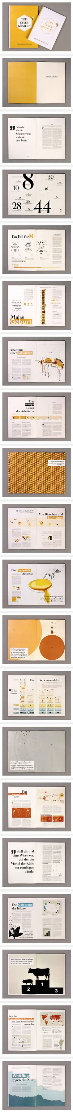 Good inspiration for the annual report project.  Information is displayed in different ways while keeping the whole cohesive.