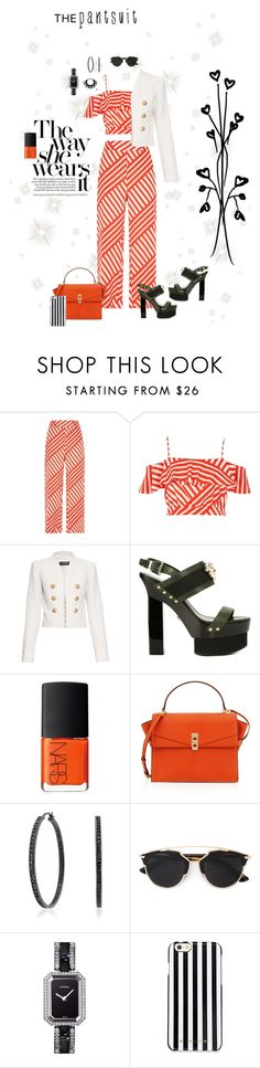"""""""contest entry:  the pantsuit;)"""" by queenchelleisboomkoo ❤ liked on Polyvore featuring River Island, Balmain, Versace, NARS Cosmetics, Henri Bendel, Bling Jewelry, Christian Dior, Chanel, MICHAEL Michael Kors and thepantsuit"""
