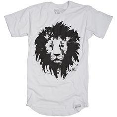 Lion White Long Body T-Shirt
