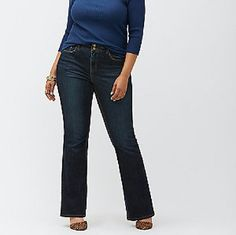 Bootcut Jeans with T3 Tighter Tummy Technology Lane Bryant boot cut jeans with T3 Tighter Tummy Technology that provides a sexy, sliming fit in a dark rinse for anywhere styling!  Built in tummy control panel that firms and flattens your tummy.  High rise waist band eliminates gaps and adds comfort.  Excellent condition.   Wore twice.  Lost weight and cant fit.  Cotton/Polyester /Spandex material. Lane Bryant Jeans Boot Cut