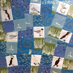 Quilt blocks made using Sea Parrot seabird fabric and At Sea bundle of fat quarters. Available in my Folksy online shop or contact me directly. Patchwork Fabric, Sea Birds, Fat Quarters, Quilt Blocks, Parrot, Quilts, Shop, Photos, Crafts