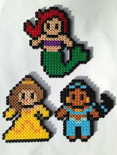 3 Disney Princess (Ariel, Jasmine and Belle) Perler / Hama Bead Sprites. by HouseOfVicness