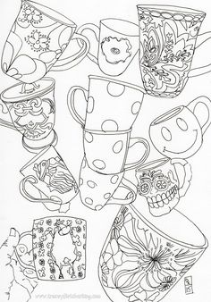 469 Best Coffee Tea Coloring Pages For Adults Images In 2019