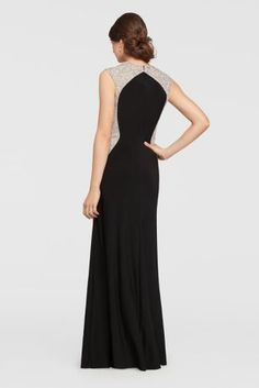 On this fitted long dress, a sweetheart neckline and contrast beading along the sides create a va-va-voom shape.  By Cachet  Jersey  Back zipper, fully lined  USA Protect your dress before you wear it with our Garment Bag.