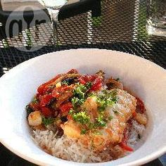Recipe photo: Basque-style cod with peppers