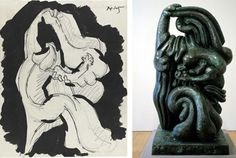 Drawing on Experience In fashioning his sculptures, Jacques Lipchitz drew inspiration from his sketches—and his past.   Left: Mother and Child, 1947 pencil, Indian ink and wash on paper.Right: Mother and Child, 1949 bronze. (Sculptures © Estate of Jacques Lipchitz, courtesy Marlborough Gallery, New York. Drawings courtesy Ben Uri Gallery, London.)