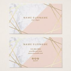 Shop Geometric Marble Gold Light Pink Business Card created by AffordPrint. Business Cards Layout, Beauty Business Cards, Unique Business Cards, Business Card Design, Marble Gold, Creation Web, Presentation Cards, Visiting Card Design, Name Card Design