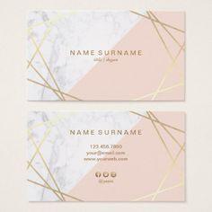 Shop Geometric Marble Gold Light Pink Business Card created by AffordPrint. Business Cards Layout, Beauty Business Cards, Business Card Design, Stationery Design, Branding Design, Logo Design, Marble Gold, Visiting Card Design, Name Card Design