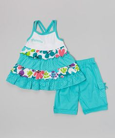 Another great find on #zulily! Teal Floral Ruffle Top & Shorts - Toddler & Girls #zulilyfinds