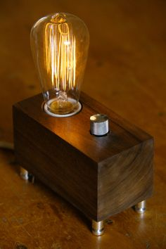 wood block edison lamp – Google Search | Steampunk Edison lamp ...