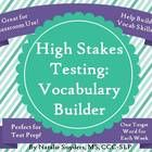 This product is designed to strengthen a student's testing vocabulary throughout an entire school year, with one word used per week (with a total of 40 words) in a regular classroom, speech therapy room, ESL/ELL room, or Title I room. This is appropriate for upper elementary, middle school, and high school students, depending upon ability level.