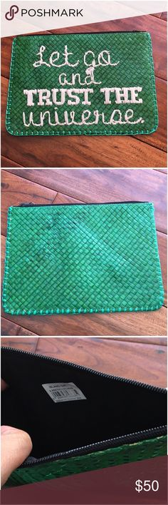 Let Go And Trust The Universe Green Banig Clutch No inside pockets. Zoom in photos to see details. Made of natural fibers, may have imperfections.  Made in the Philippines 🇵🇭.   Ask ALL questions before you buy as all sales are final. I try to describe the items I sell as accurately as I can but if I missed something, please let me know FIRST so we can resolve it before you leave < 5🌟rating.   🚫TRADES/OFFLINE TRANSACTIONS 🚫LOWBALLING (Please consider the 20% PM fee) ✅Offers only through…